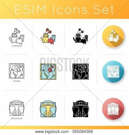 Art Movements Icons Set. Artworks In Surrealism, Renaissance Styles. Modern And Classical Painting.