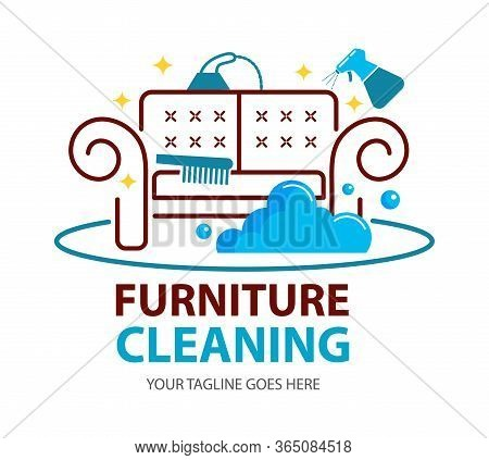 Furniture Dry Cleaning Logo Flat Concept. Sofa Professional Washing, Laundry Service. Furnishing Del