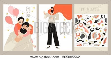 Set Of Fathers Day Greeting Card Templates With Cute Characters Of Daddy With Children, Dad-superher