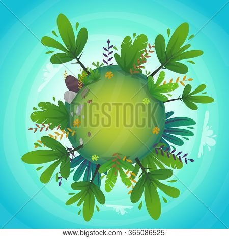 Circular Panorama Park Forest View Miniature Planet Concept With Grass Field . Green Peace Nature ,