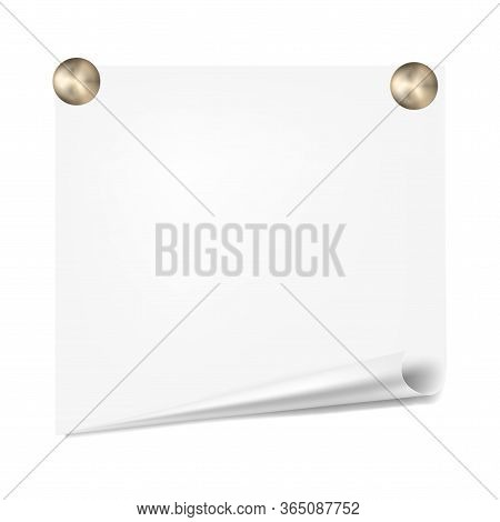 Scratch Paper On A White Wall. Note Paper With Pushpins Isolated On White Background. For Your Busin