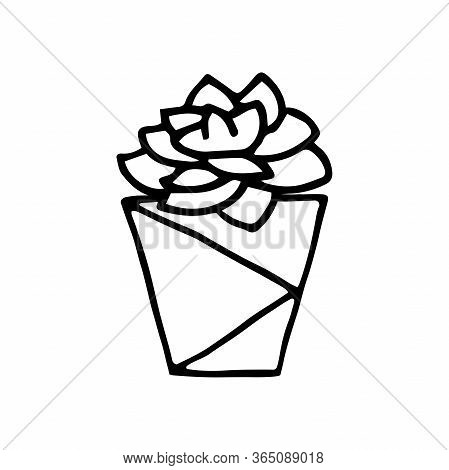 Doodle Succulent In A Faceted Pot. Scratchy Hand-drawn Succulent With Poly Flower Pot. Black Outline