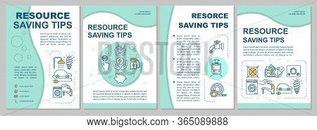 Resource Saving Tips Brochure Template. Sustainable Consumption. Flyer, Booklet, Leaflet Print, Cove
