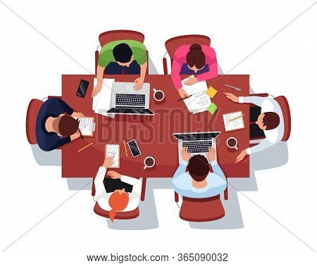 Business Meeting Semi Flat Rgb Color Vector Illustration. Brainstorming In Office Conference Room. M