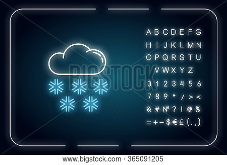 Snow Neon Light Icon. Outer Glowing Effect. Meteorological Forecast, Wintertime Weather Forecast Sig