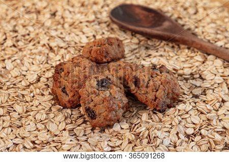 Handmade Cookies Placed On Oatmeal. Oatmeal Cookies