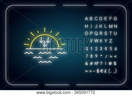Sunset Neon Light Icon. Outer Glowing Effect. Evening, Sundown, Weather Forecasting Sign With Alphab
