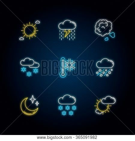 Sky Clarity And Precipitation Neon Light Icons Set. Seasonal Weather Forecast, Meteorological Report