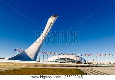 Sochi, Krasnodar Krai, Russia - October 10 2014: Bowl Olimpic Flame And Bolshoi Ice Palace For Ice H