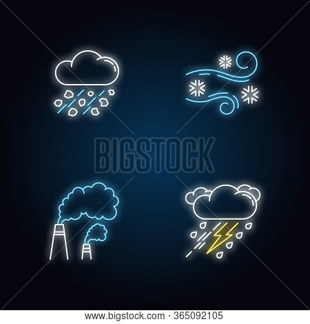 Bad Weather Forecast Neon Light Icons Set. Meteorology, Atmosphere Condition Signs With Outer Glowin
