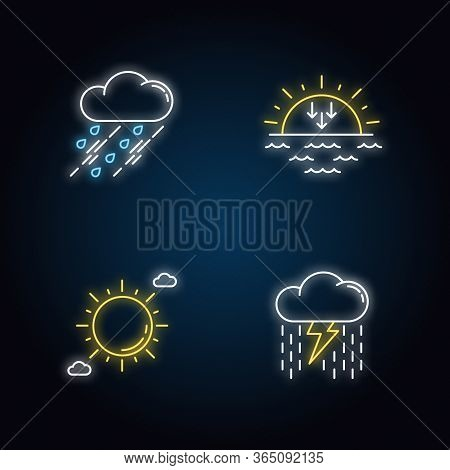 Daytime And Nighttime Forecast Neon Light Icons Set. Weather Prediction Science Signs With Outer Glo