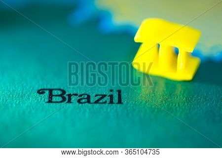 Geographical Map Location Of Country Brazil Brasil In South American Continent On Atlas