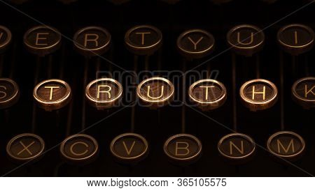 Dark Image Of Old Typewriter Keyboard With Scratched Chrome Keys, A Few Of Which Are Brightly Lit An