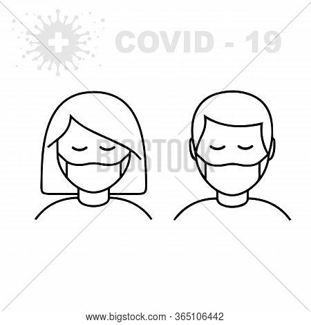 Man And Woman In Medical Face Protection Mask. Vector Icon Of Depressed And Tired People Wearing Pro