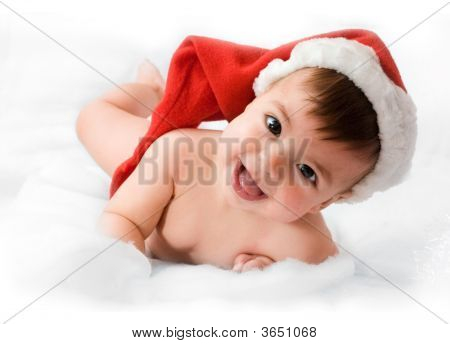 Adorable Baby Smiling With Christmas Hat