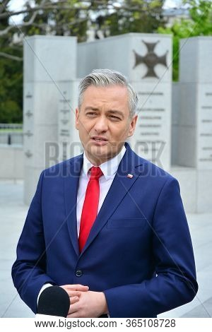 Warsaw, Poland. 7 May 2020. Press Conference Of The Candidate For The Office Of The President Of Pol