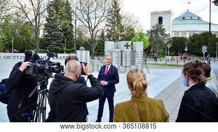 Warsaw, Poland. 7 May 2020. Candidate For The Office Of Polish President Robert Biedron. View Of Pre