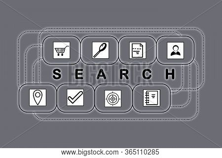 Search Inquiries. Set Of Linked Icons On Grey Background