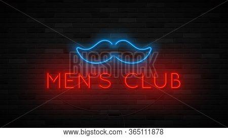 Neon Men's Club Label Template. Bright Symbol With Neon Moustache. Striptease Club Concept Icon Isol