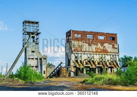 Abandoned Structures Of The Mine For The Extraction Of Copper Ore. Russia. Ural. The Town Of Krasnou