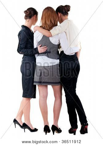 back view of business team work. three beautiful young businesswoman pointing.Rear view people collection. backside view of person. Isolated over white background.
