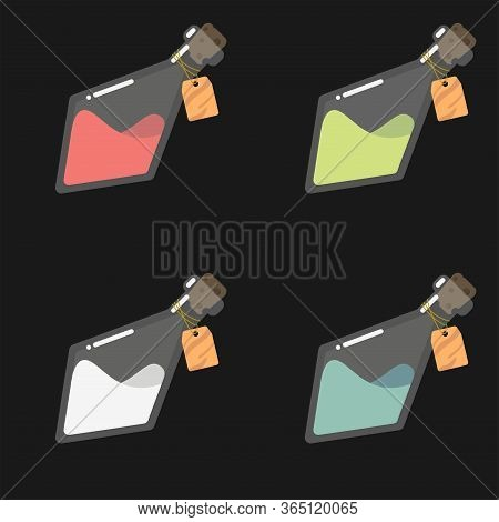 Game Icon Of Bottles With Colorful Liquid. Interface For Mobile Game. Set Of Glass Flasks With Empty
