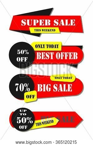 Retail Sale Tags. Cheap Price Flyer, Best Offer Price And Big Sale Pricing Tag Badge Design. Collect