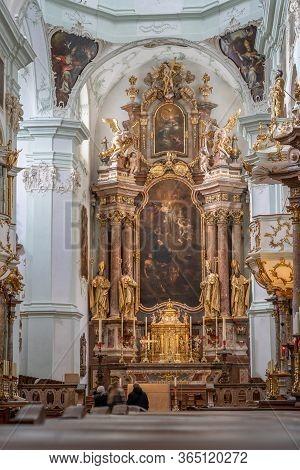 Feb 4, 2020 - Salzburg, Austria: Altar Facade Of Rococo Style Inside St Peter Abbey Church