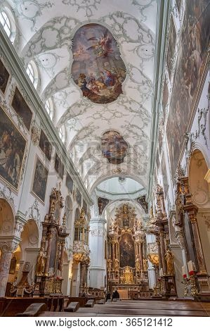 Feb 4, 2020 - Salzburg, Austria: Ultrawide Nave View Over Pews Of Altar And Ceiling Of St Peter Abbe