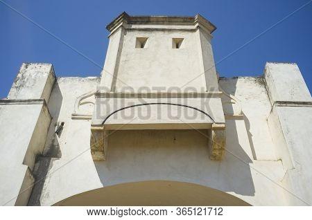 Machicolated Battlement Of  Palmas Bridge Hornwork Bastion. Fortification At The Bridgehead Built In