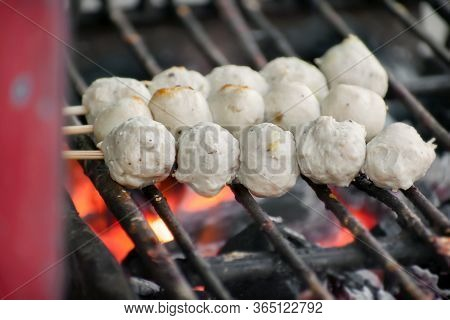 Ground Meet Balls On A Skewer Grilling Over Coal