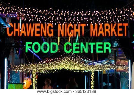 Thailand Samui 9 Mar 2020 Night Life And Street Food Concept. Sign Of Chaweng Night Market Food Cent