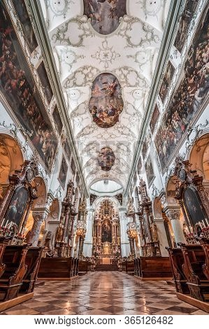 Feb 4, 2020 - Salzburg, Austria: Ultrawide Nave View Of Altar And Rococo Floral Mural Ceiling Of St