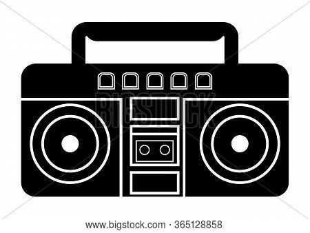 Boombox Icon. Vector Illustration Of Boombox In Glyph Style, Solated On White Background. Retro Port