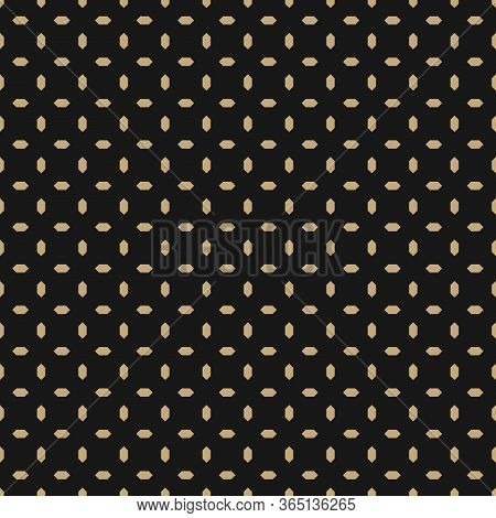 Golden Vector Seamless Pattern With Small Diamond Shapes, Rhombuses, Dots. Abstract Black And Gold G