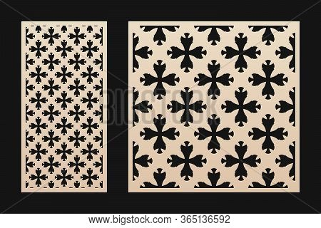 Laser Cut Panel. Elegant Vector Template With Abstract Geometric Pattern In Oriental Style, Floral O