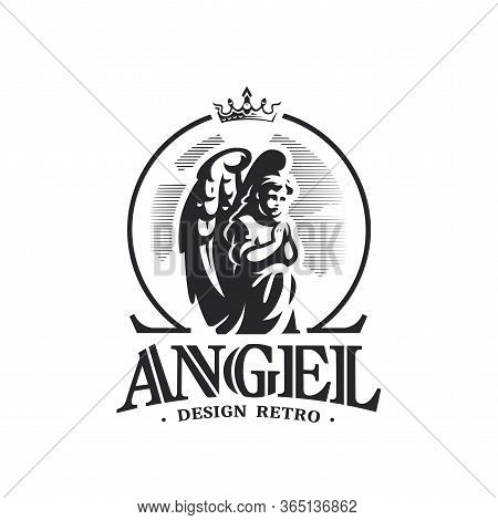 Angel Child With Wings On His Back, Clasped Hands, Prays Standing On His Knee. On Top Of It Is A Cro