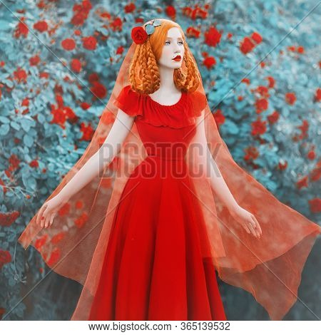 Young Beautiful Redhead Girl With Very Long Hair Braided In Plait With Rose On Her Head. Fabulous Re