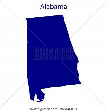 United States, Alabama. Dark Blue Silhouette Of The State On Its Borders.