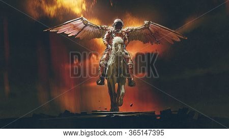 Sci-fi Concept Of The Astronaut With Wings Riding A Horse On Dark Background, Digital Art Style, Ill