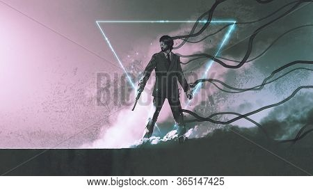 Man With The Gun Standing Against Smoke Background With Mysterious Glowing Triangle, Digital Art Sty