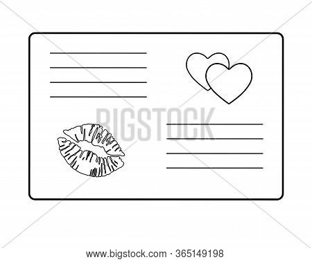 Love Letter Valentine. Envelope With A Love Message Decorated With Two Hearts And A Lipstick Print -