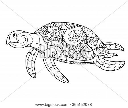 Sea Turtle - Antistress Coloring Page. Swimming Sea Turtle - Vector Line Drawing For Coloring. An El
