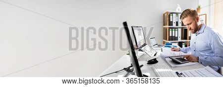 Accounting And Calculating Cost Invoice With Computer Software