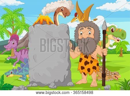 Vector Illustration Of Cartoon Caveman Holding Stone Sign In The Forest