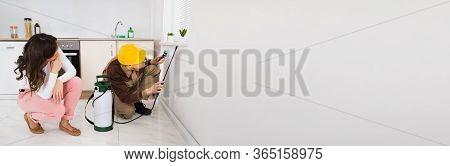 Pest Control Exterminator Spraying Insecticide Under Windowsill
