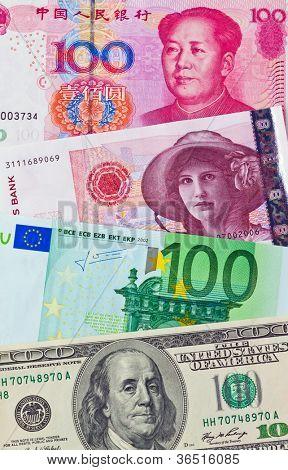 chinese yuan. eurp�¤ische-euro bank notes. american dollars. norwegian kroner