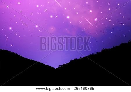 Night Landscape With Silhouettes Of Mountains And Sky With Stars, Starry Night Sky Background. Dark