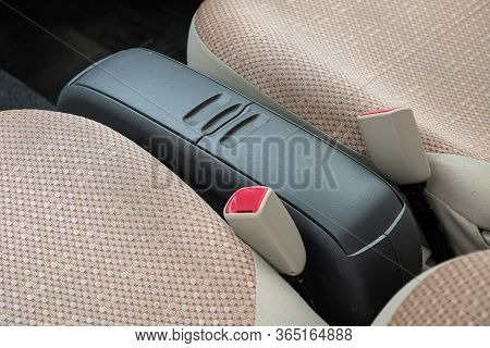 Novosibirsk/ Russia - May 02 2020: Toyota Sienta, Small Storage Compartment Between The Front Seats