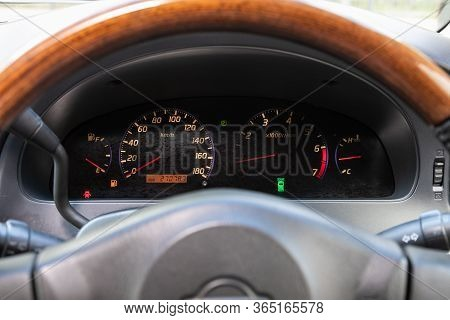 Novosibirsk/ Russia - May 02 2020: Nissan Presage, Round Speedometer, Odometer With A Range Of 270 T